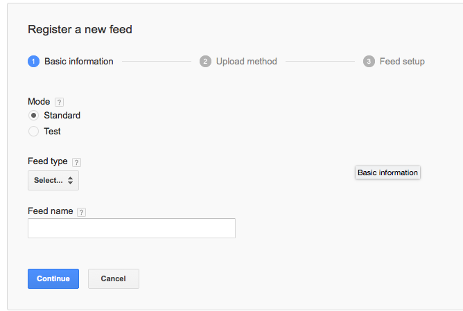 Google feed setup