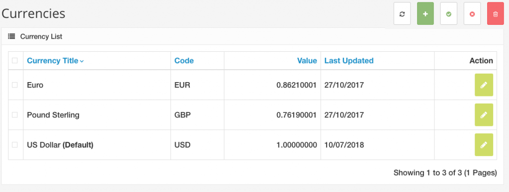 Managing currencies